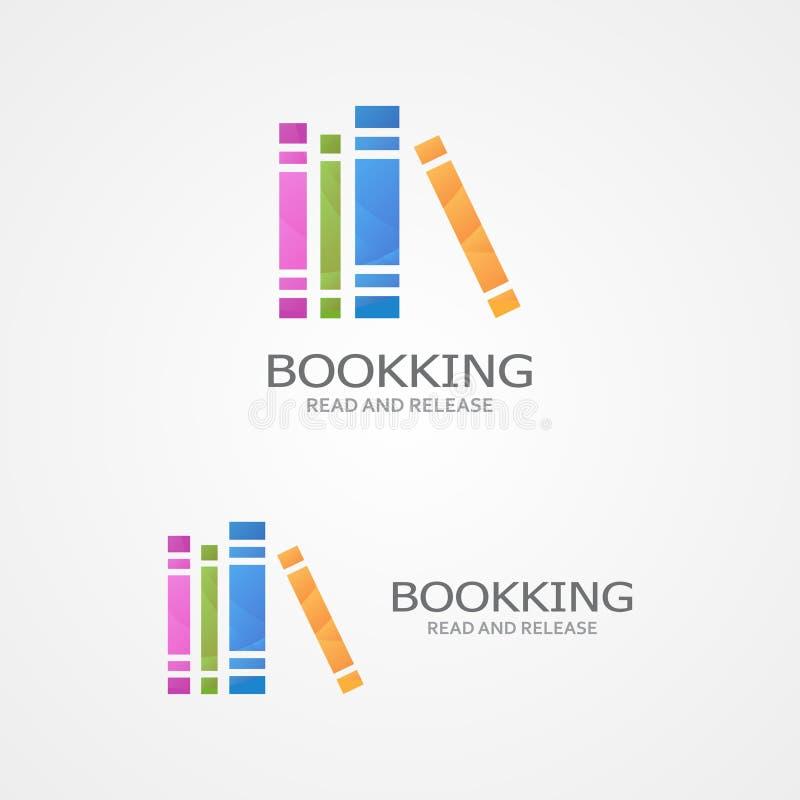 Logo de vecteur avec livres colorés illustration libre de droits