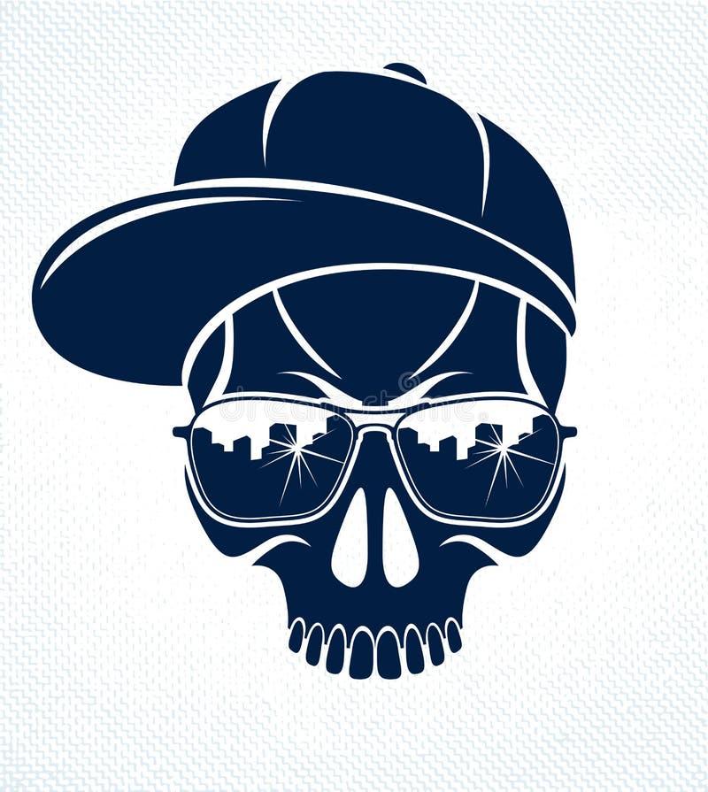 Logo de vecteur de crâne de bandit, icône ou tatouage, criminel agressif élégant urbain illustration stock