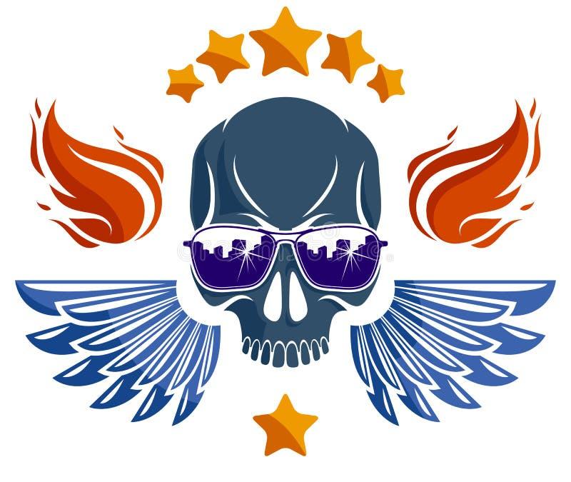 Logo de vecteur de crâne de style de culture ou illustration urbain d'emblème, de bandit ou de voyou, voyou de chaos d'anarchie,  illustration stock