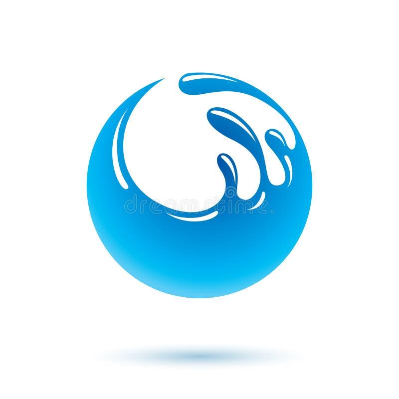 Logo de vecteur d'éclaboussure de vague de mer L'eau pure comme force d'entraînement pour illustration libre de droits