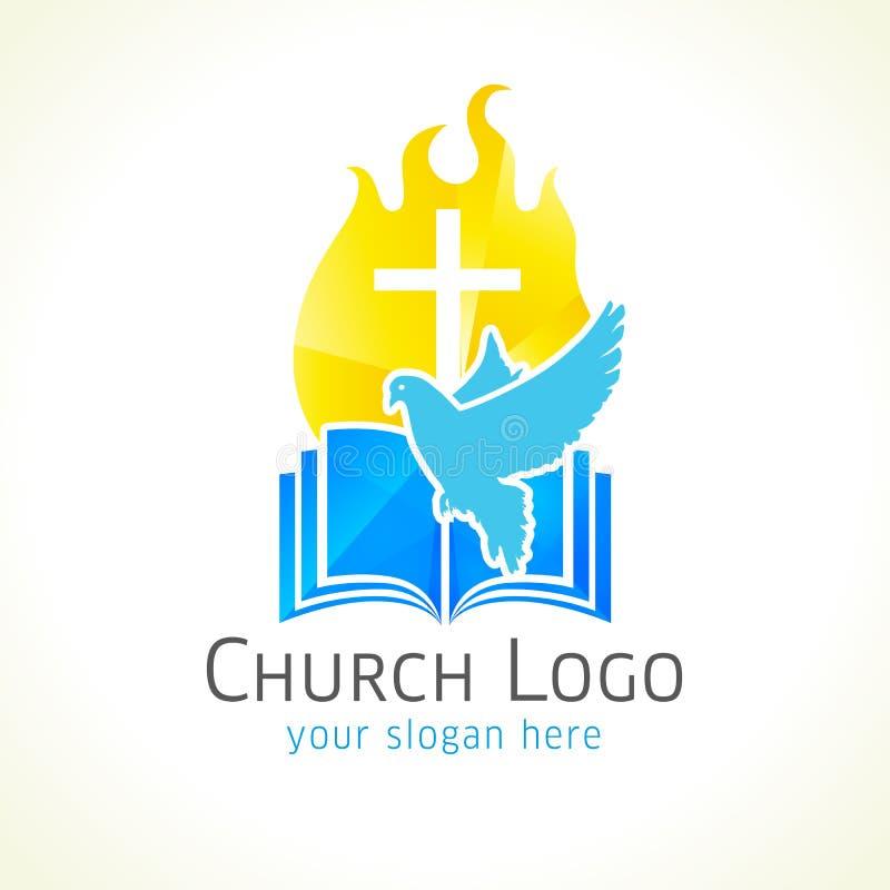 Logo de vecteur d'église chrétienne illustration libre de droits