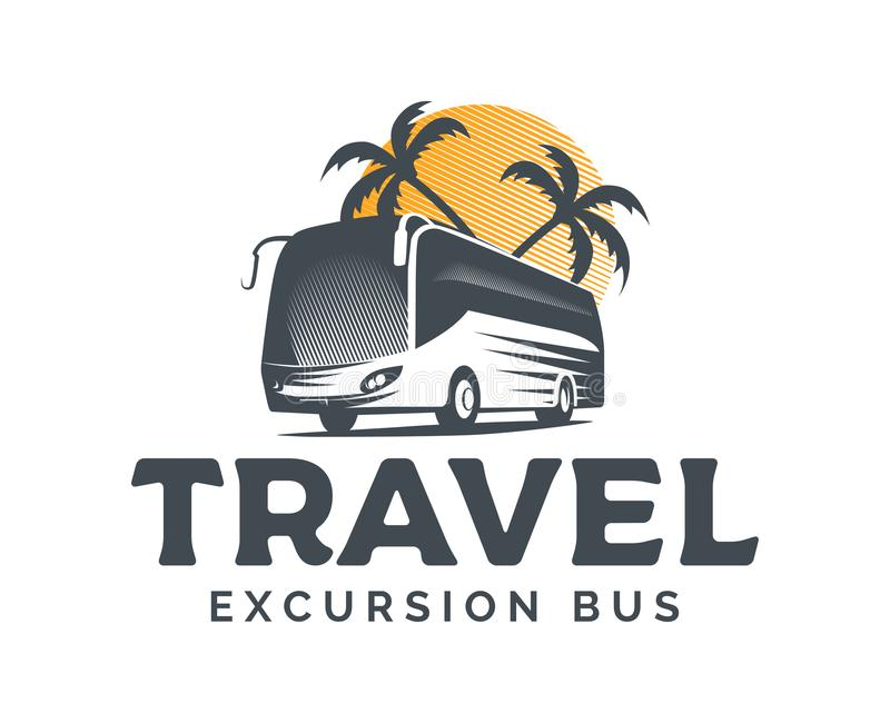 Logo de vecteur d'autobus de touristes sur le fond blanc illustration de vecteur
