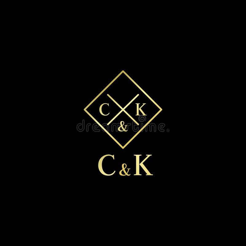 Logo de vecteur d'hôtel ou de boutique de lettres de C et de K C, lettres de K de l'emblème d'alphabet illustration libre de droits