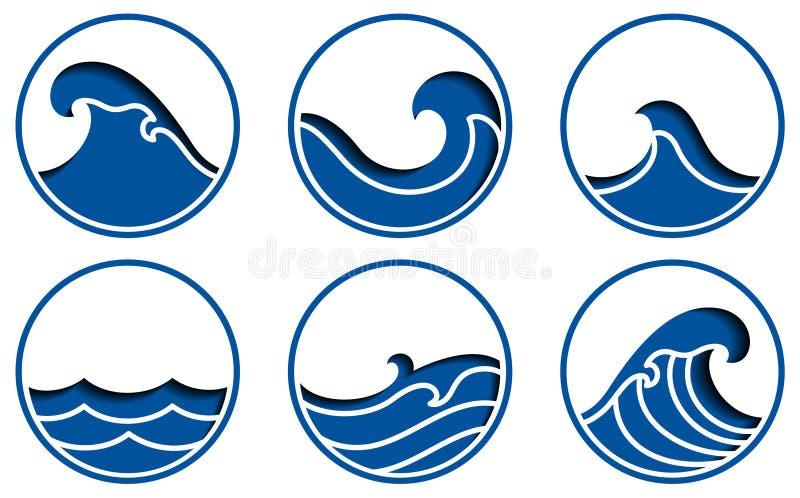 Logo de vecteur d'icône de ressac illustration de vecteur
