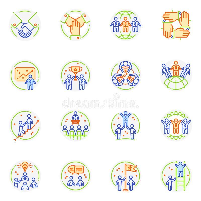 Logo de vecteur d'icône de travail d'équipe et signe teambuilding de travail de coopération d'ensemble d'illustration d'associati illustration libre de droits
