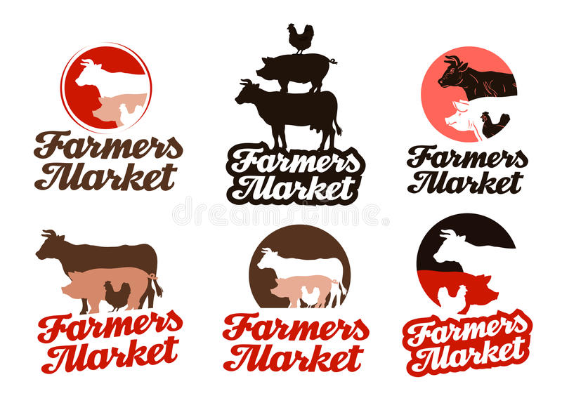 Logo de vecteur de ferme élevage, icône de production animale illustration libre de droits