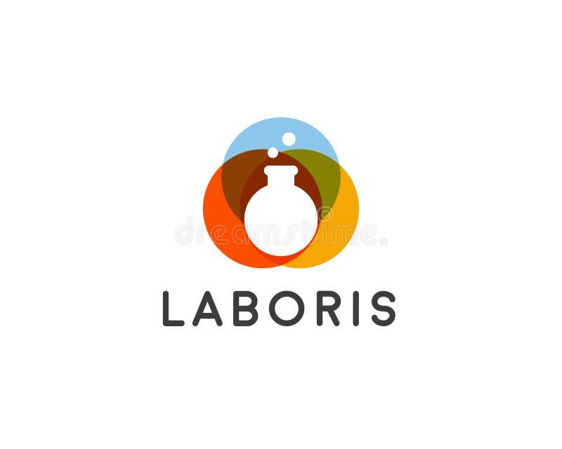 Logo de vecteur de laboratoire Logotype de flacon Conception créative d'icône de symbole de signe d'éducation de la Science illustration stock