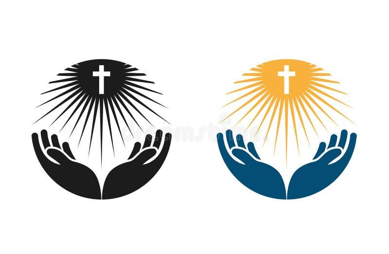 Logo de vecteur de religion L'église, icône prient ou de bibles illustration libre de droits