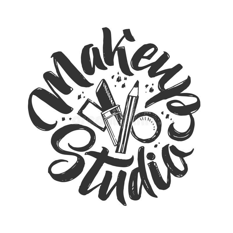 Logo de vecteur de studio de maquillage Illustration tirée par la main des cosmétiques Illustration ronde de lettrage illustration stock