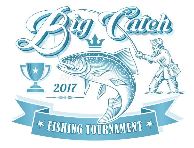 Logo de vecteur de tournoi de pêche illustration de vecteur