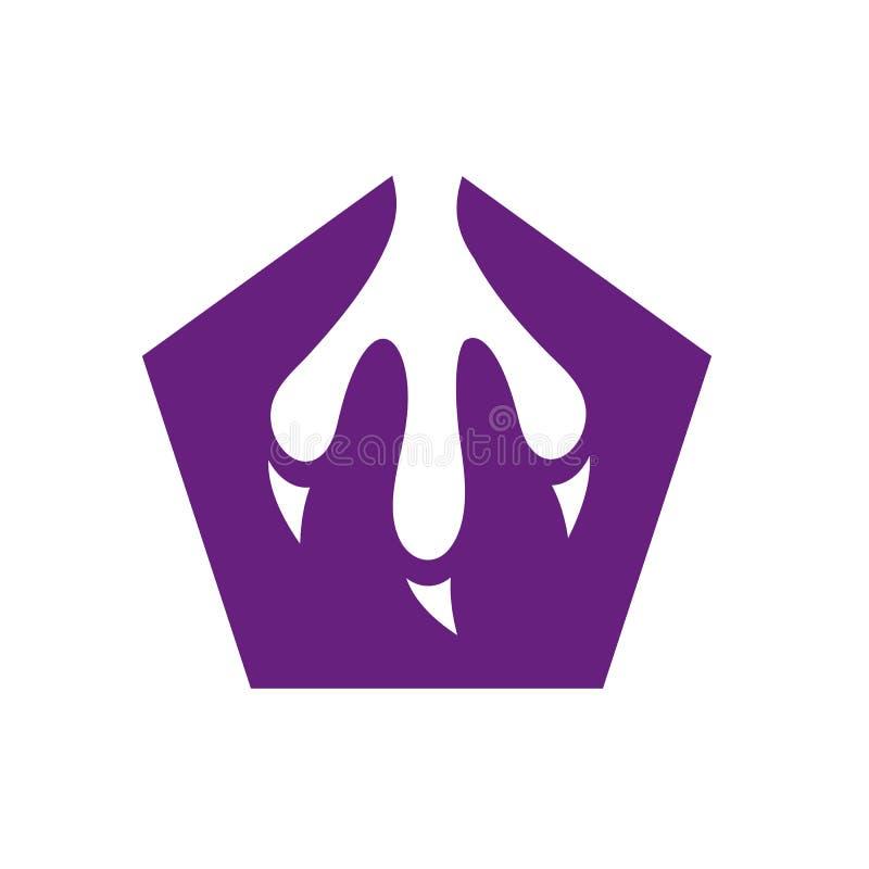Logo de vecteur de griffe, Paw Print Icon Concept, Logo Design animal, logo pourpre du Pentagone illustration de vecteur