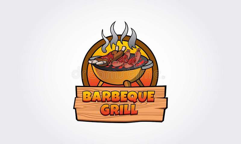 Logo de vecteur de gril de barbecue illustration stock