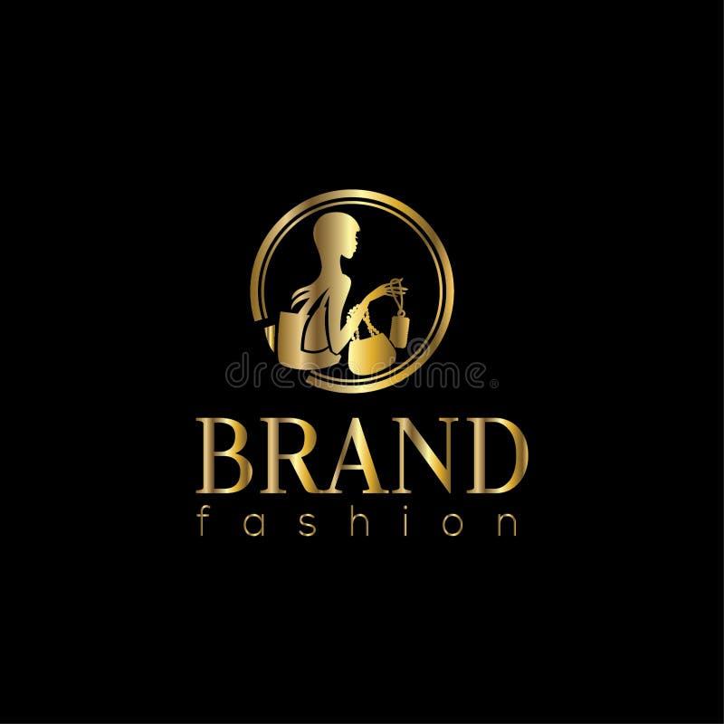 Logo de vecteur de mode Illustration de femme d'achats illustration de vecteur