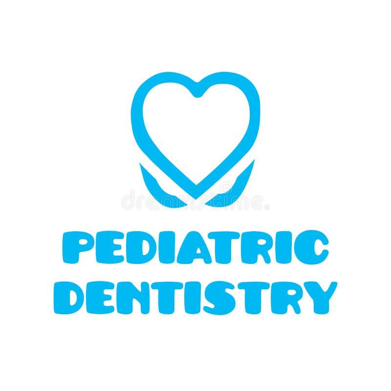 Logo de vecteur pour l'art dentaire pédiatrique, art dentaire pour des enfants illustration stock