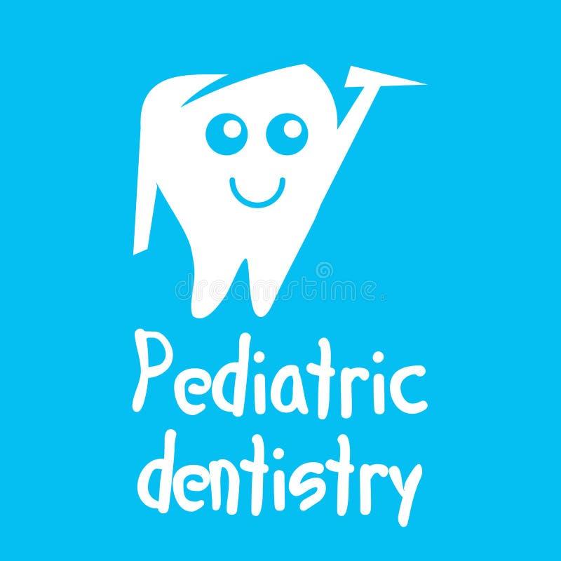 Logo de vecteur pour l'art dentaire pédiatrique, art dentaire pour des enfants illustration de vecteur