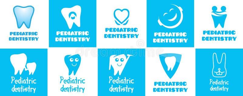 Logo de vecteur pour l'art dentaire pédiatrique, art dentaire pour des enfants illustration libre de droits