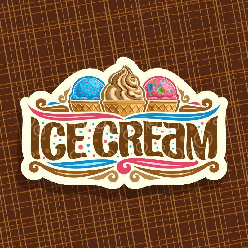 Logo de vecteur pour la crème glacée italienne illustration stock