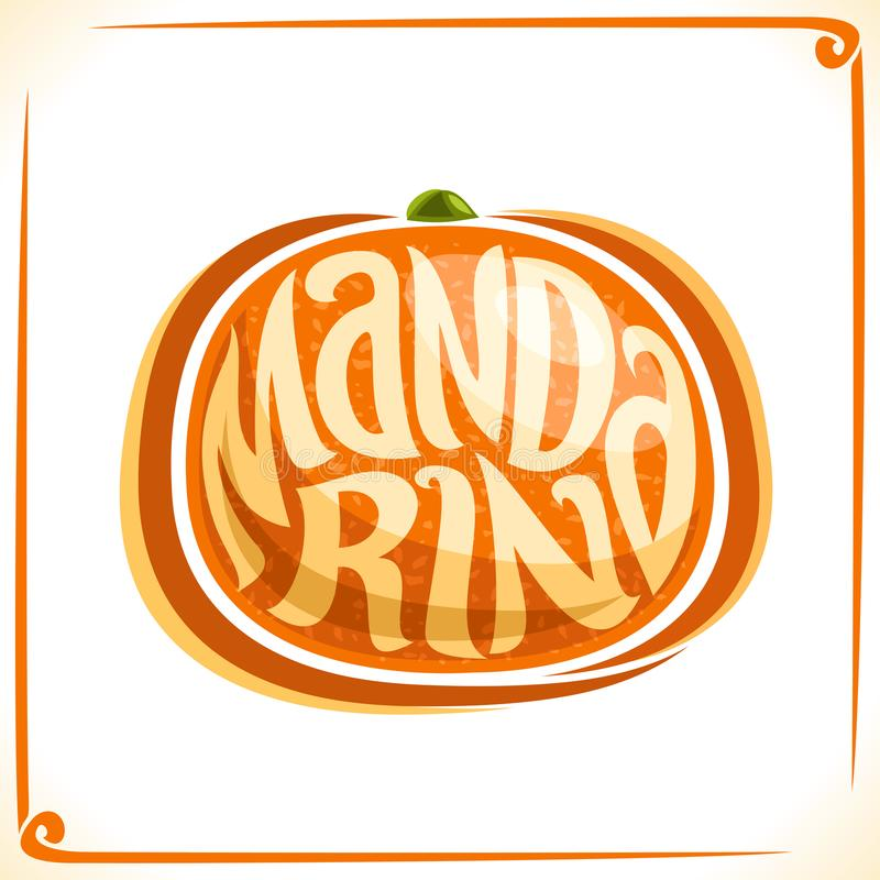 Logo de vecteur pour la mandarine fraîche illustration libre de droits