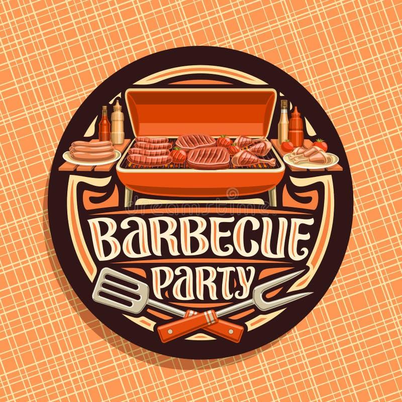 Logo de vecteur pour la partie de barbecue illustration de vecteur