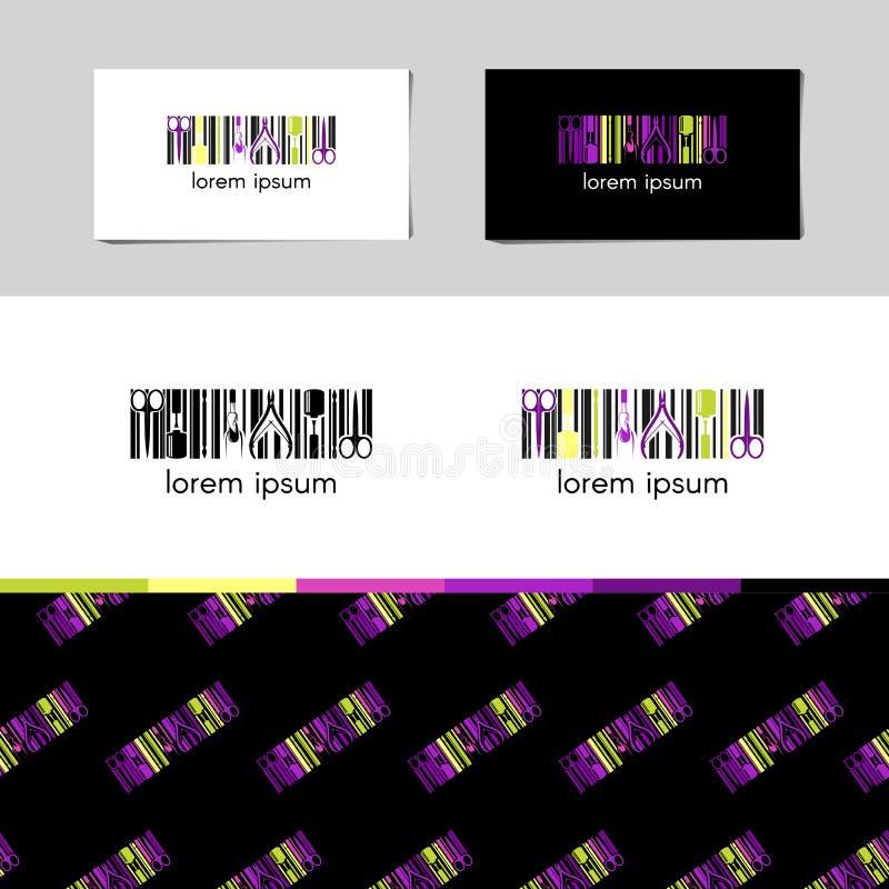 Logo de vecteur pour la société de conception de clou avec la carte de raison sociale et modèle d'entreprise dans le style géomét photos stock