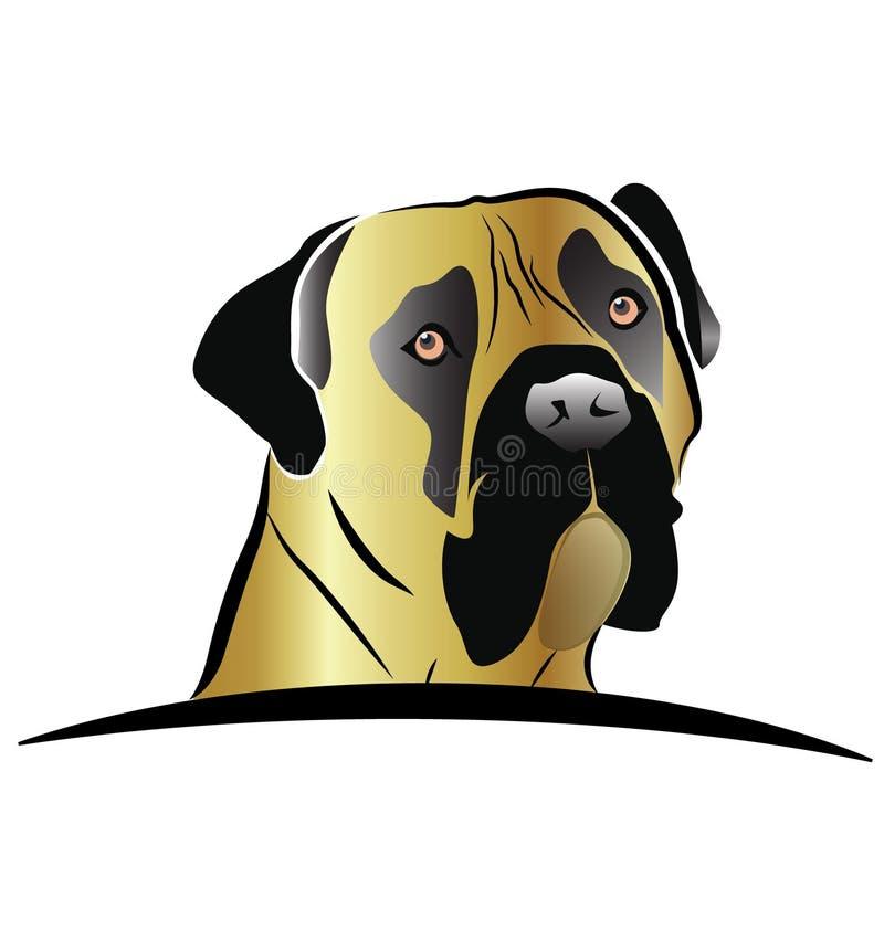 Logo de vecteur de tête de chien de mastiff illustration stock