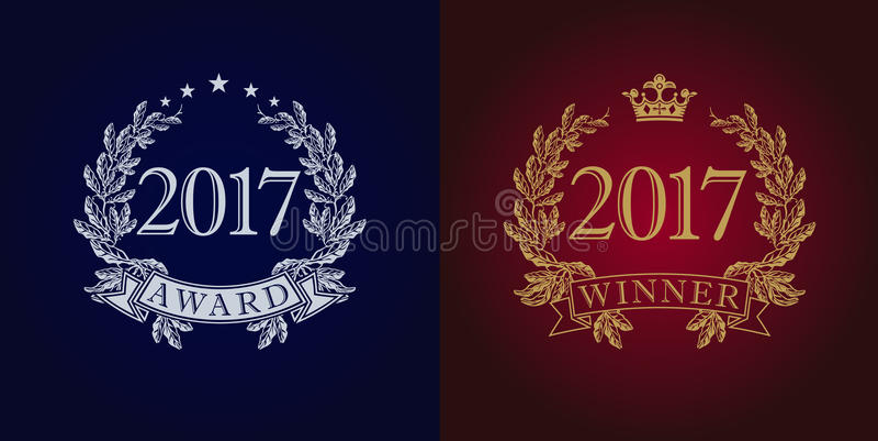 Logo 2017 de vintage de récompenses illustration stock