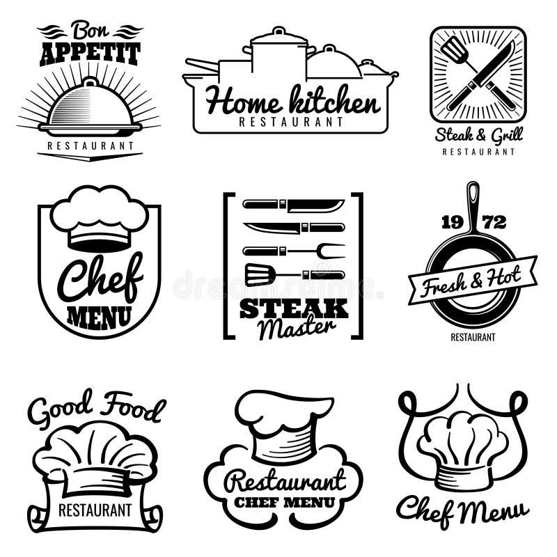 Logo de vintage de vecteur de restaurant Rétros labels de chef Cuisson dans des emblèmes de cuisine illustration stock