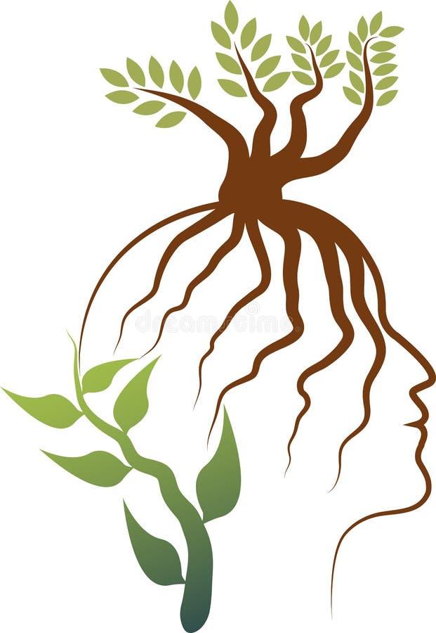 Logo de visage de racine illustration stock