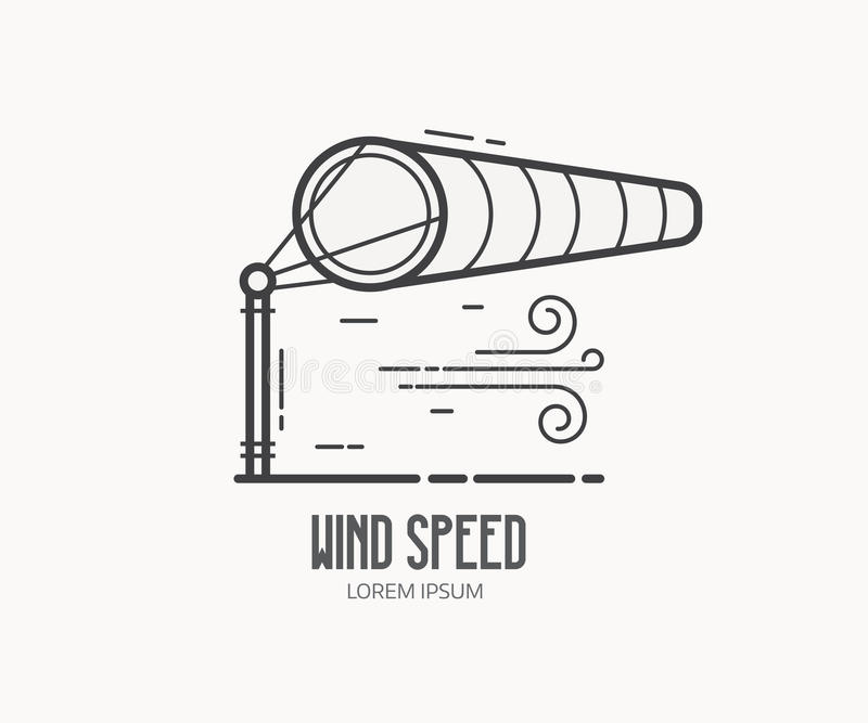 Logo de vitesse du vent avec le manche à air illustration de vecteur
