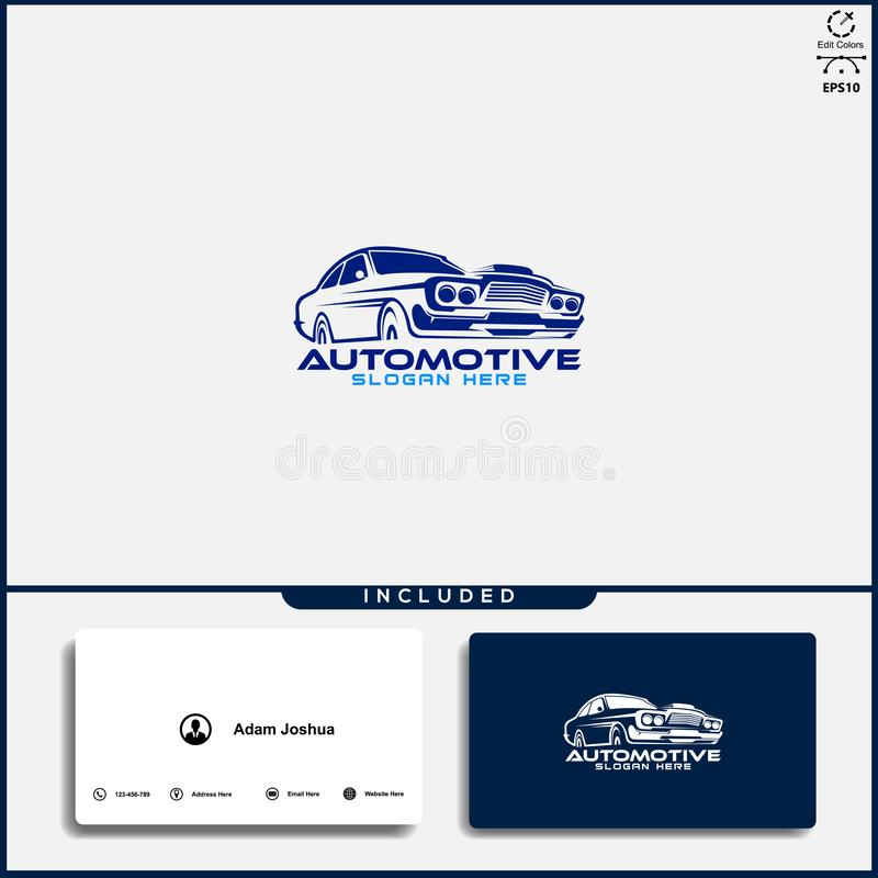 Logo de voiture, concept de construction abstrait de voiture, calibre des v?hicules ? moteur de conception de logo de voiture illustration de vecteur