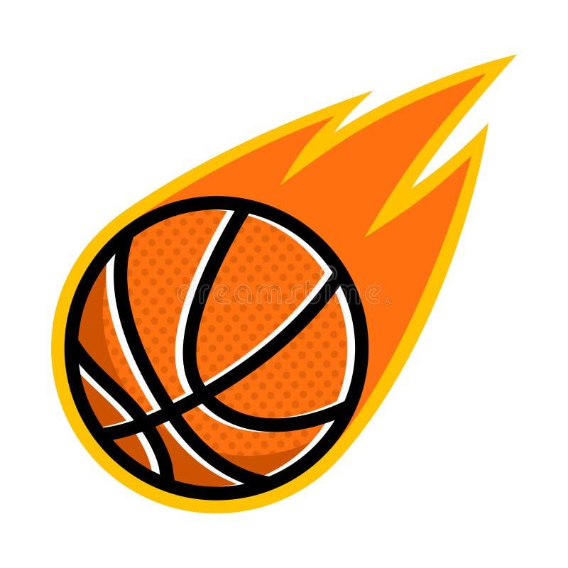 Logo de vol de queue du feu de comète de sport de basket-ball illustration stock