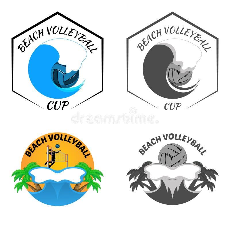 Logo de volleyball de plage pour l'équipe et la tasse illustration libre de droits