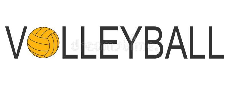 Logo de volleyball des textes avec le jaune de boule photo libre de droits