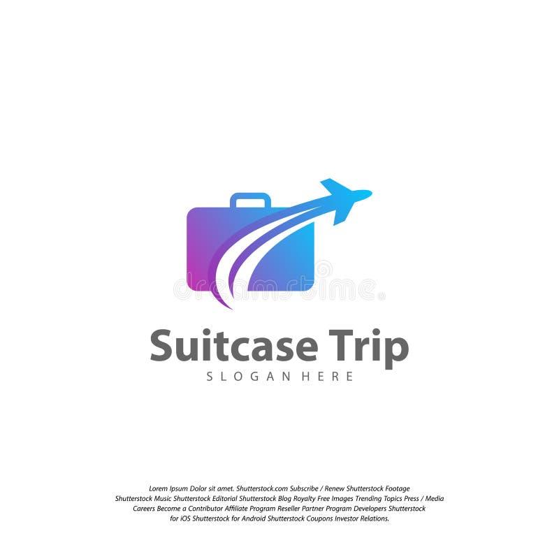 Logo de voyage avec la valise et l'avion Calibre de vecteur de conception de logo de voyage illustration stock
