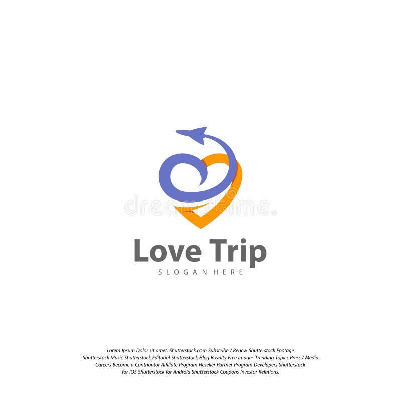 Logo de voyage d'amour Calibre de vecteur de conception de logo de voyage illustration stock