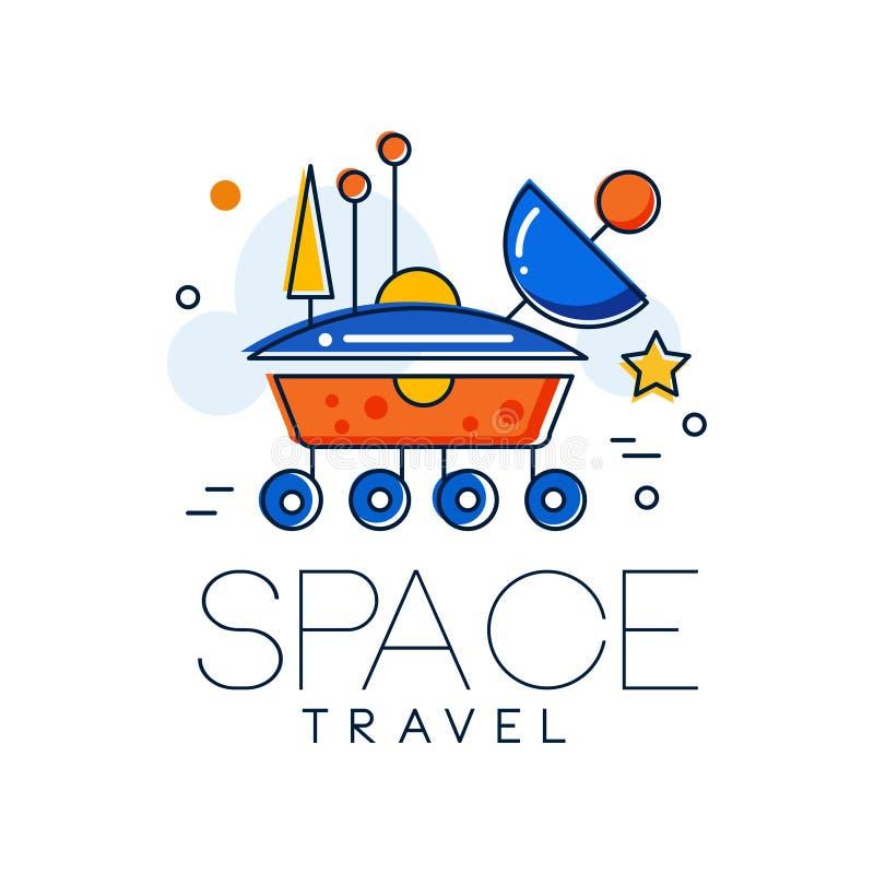 Logo de voyage dans l'espace, illustration de vecteur d'insigne de mission spatiale de Mars sur un fond blanc illustration stock