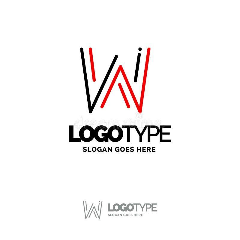 Logo de W Digital Logo Template Calibre noir et rouge de logo, technologie illustration de vecteur