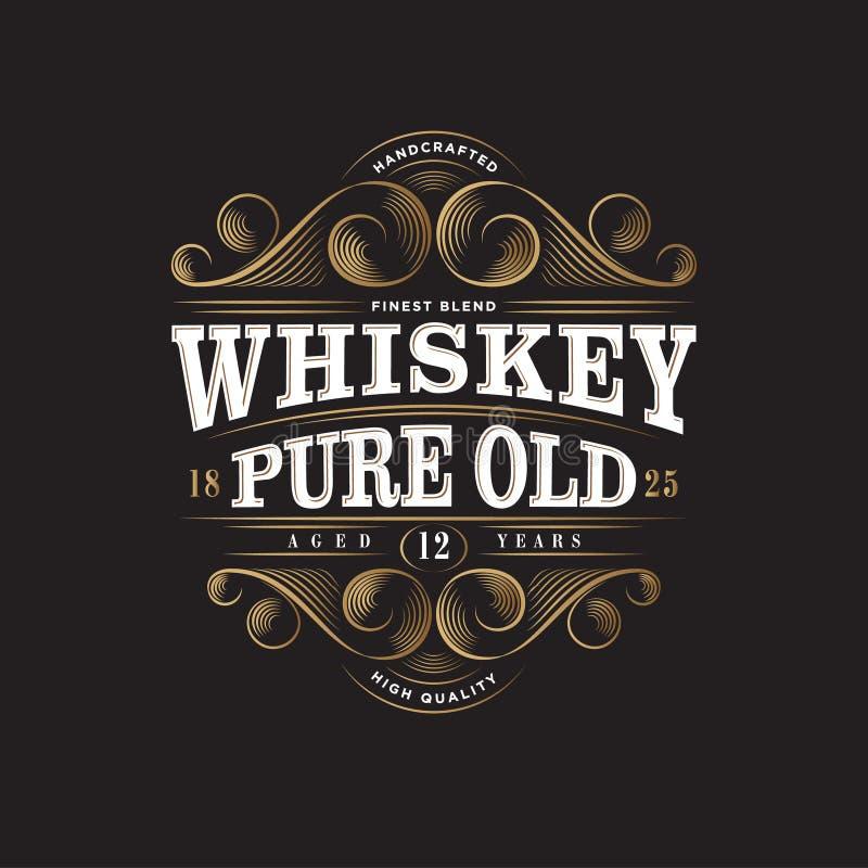 Logo de whiskey Label pur de whiskey vieux Conception d'empaquetage de la meilleure qualité Inscription des éléments décoratifs d illustration de vecteur
