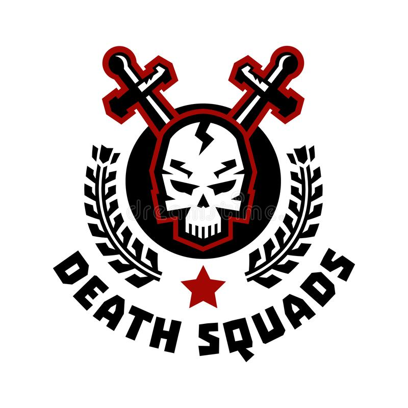 Logo death squad. Swords cross. Skull and wreath. Vector illustration. Flat style. stock illustration