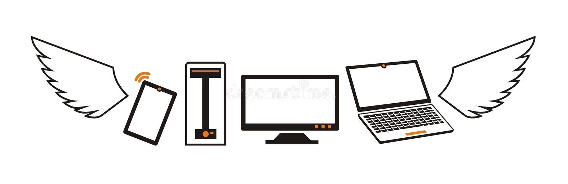 Logo dei computer e dei dispositivi di volo dentro illustrazione di stock