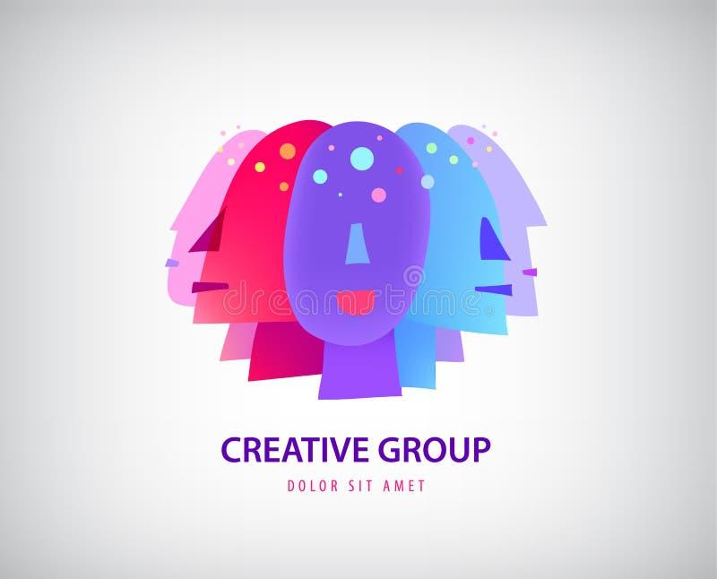 Logo dei fronti della gente di vettore gruppo reative, gruppo, teste con l'icona di idee isolata royalty illustrazione gratis