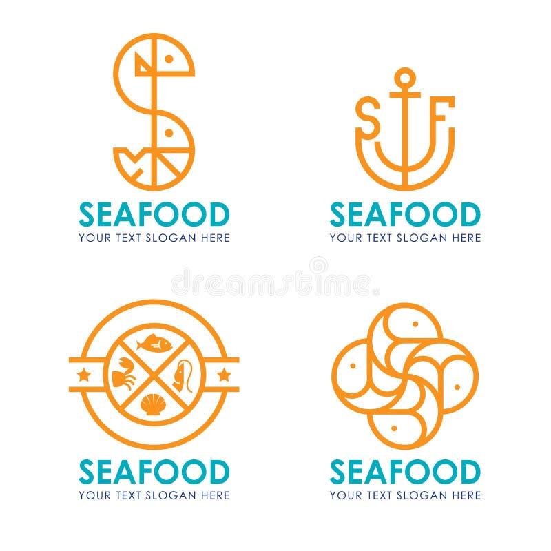 Logo dei frutti di mare con la striscia laterale arancio progettazione moderna di vettore di stile royalty illustrazione gratis