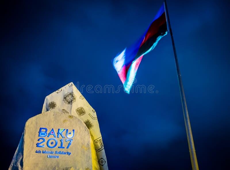 Logo dei giochi islamici di solidarietà a Bacu, Azerbaigian fotografia stock libera da diritti