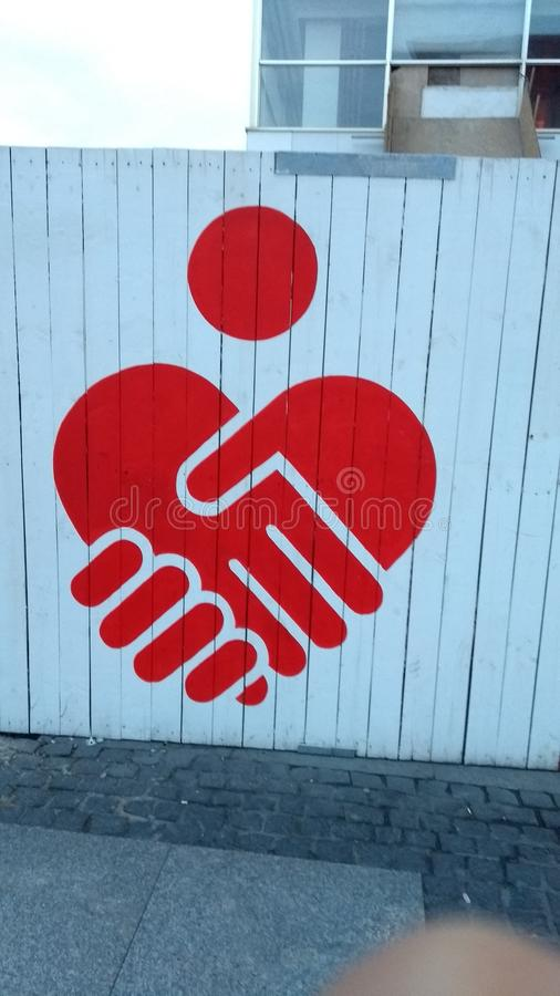 Logo dei graffiti di Berlino della porta di Brandeburgo fotografia stock