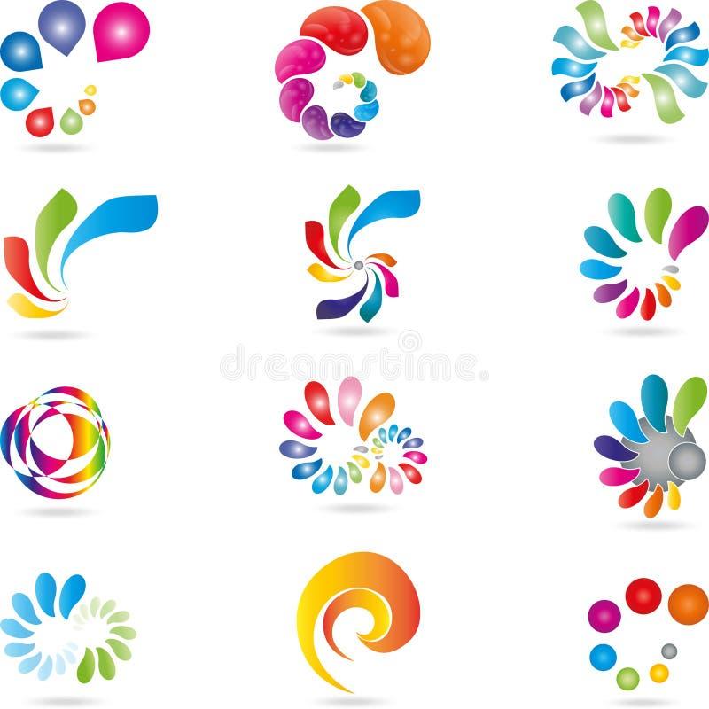 Logo dei pittori, gocce, spirali, colore illustrazione di stock