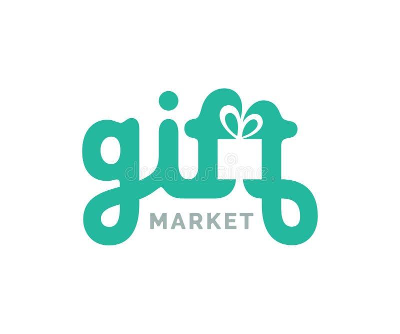 Logo dei regali con il simbolo della scatola illustrazione vettoriale