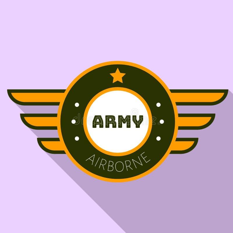 Logo del airborn dell'esercito, stile piano illustrazione vettoriale