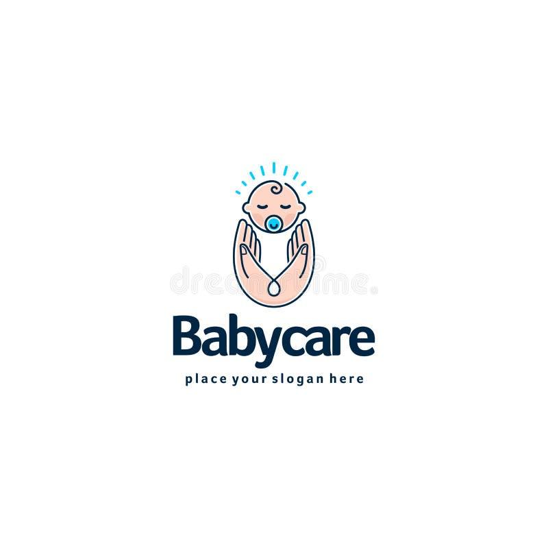 Logo del bambino Bambino addormentato in mani della madre Logotype di sicurezza e di cura illustrazione di stock