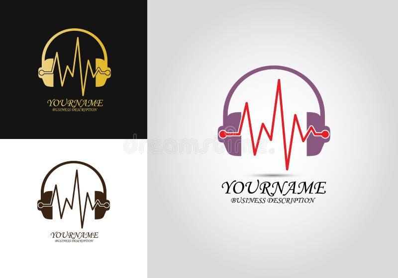Logo del battito cardiaco della cuffia illustrazione vettoriale