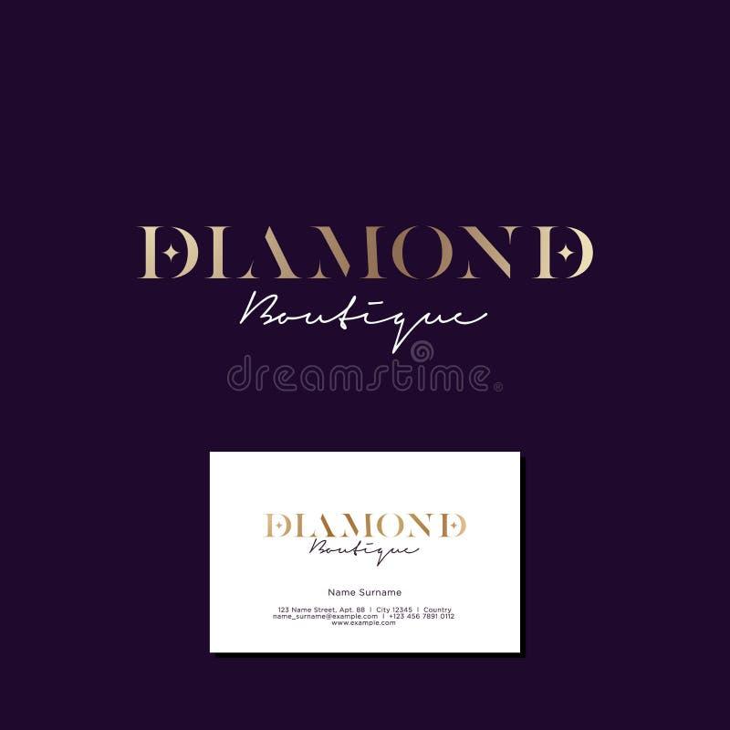 Logo del boutique del diamante Logo elegante dell'oro con le stelle su un fondo scuro illustrazione di stock